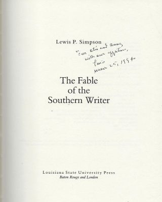 THE FABLE OF THE SOUTHERN WRITER.