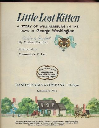 LITTLE KITTEN LOST: A STORY OF WILLIAMSBURG IN THE DAYS OF WASHINGTON