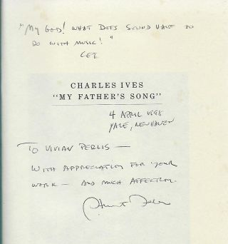 """CHARLES IVES: """"MY FATHER'S SONG"""": A PSYCHO ANALYTIC BIOGRAPHY."""