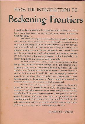 BECKONING FRONTIERS: PUBLIC AND PERSONAL RECOLLECTIONS.
