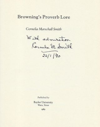 BROWNING'S PROVERB LOVE