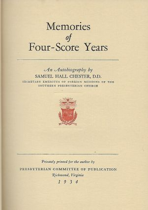 MEMORIES OF FOUR-SCORE YEARS: AN AUTOBIOGRAPHY