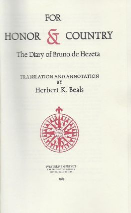 FOR HONOR AND COUNTRY: THE DIARY OF BRUNO DE HEZETA..
